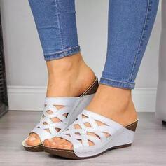 Frauen PU Keil Absatz Sandalen Plateauschuh Keile Peep Toe Pantoffel mit Hohl-out Schuhe