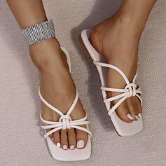 Frauen PU Flascher Absatz Sandalen Flache Schuhe Peep Toe Pantoffel mit Hohl-out Verband Schuhe