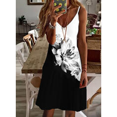 Print/Floral/Color Block Sleeveless Shift Above Knee Casual/Vacation Slip Dresses