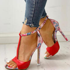 Frauen Stoff Stöckel Absatz Absatzschuhe Peep Toe mit Tierdruckmuster Schuhe