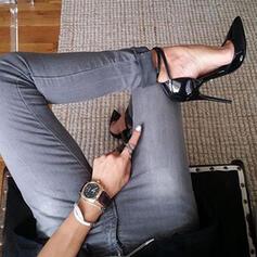 Frauen Lackleder Stöckel Absatz Sandalen Absatzschuhe Geschlossene Zehe Spitze mit Einfarbig Schuhe