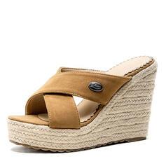 Frauen Veloursleder Keil Absatz Sandalen Keile Pantoffel Schuhe