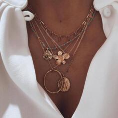 Jahrgang Boho Geschichtet Legierung mit Münze Blumen Halsketten (Satz 5)