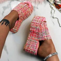 Women's PU Flat Heel Sandals Platform Wedges Peep Toe Slippers With Splice Color shoes