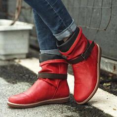 Frauen PU Flascher Absatz Stiefelette Round Toe mit Schnalle Spleißfarbe Schuhe