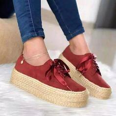 Frauen Veloursleder Flascher Absatz Flache Schuhe Round Toe Slipper & Slips mit Bowknot Einfarbig Schuhe