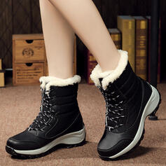 Frauen Leinwand Keil Absatz Keile Stiefel Winterstiefel mit Zuschnüren Schuhe