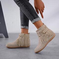 Frauen Veloursleder Flascher Absatz Stiefelette Round Toe mit Reißverschluss Quaste Schuhe