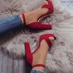 Frauen Veloursleder Stämmiger Absatz Sandalen Absatzschuhe Peep Toe mit Hohl-out Einfarbig Schuhe