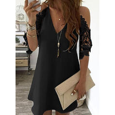 Lace/Solid 1/2 Sleeves Shift Above Knee Little Black/Party/Elegant Dresses