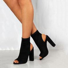 Frauen Veloursleder Stämmiger Absatz Absatzschuhe mit Reißverschluss Schuhe