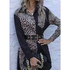 Leopard Lange Ärmel Etui Über dem Knie Freizeit Hemd Kleider
