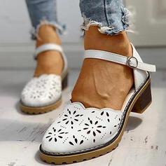 Frauen PU Espadrille-Absatz Slipper mit Schnalle Schuhe