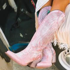 Frauen PU Stämmiger Absatz Kniehocher Stiefel Spitze mit Reißverschluss Schuhe