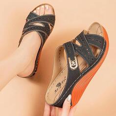 Frauen PU Keil Absatz Sandalen Keile Peep Toe Pantoffel mit Schnalle Hohl-out Einfarbig Schuhe