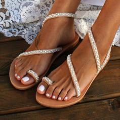 Frauen PU Flascher Absatz Sandalen Flache Schuhe Peep Toe mit Nachahmungen von Perlen Schuhe