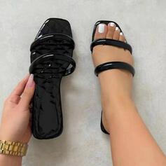 Frauen PU Flascher Absatz Sandalen Flache Schuhe Peep Toe Pantoffel mit Hohl-out Einfarbig Schuhe