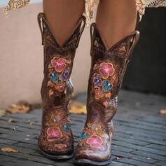 Frauen PU Stämmiger Absatz Stiefel-Wadenlang Reitstiefel mit Bestickt Schuhe