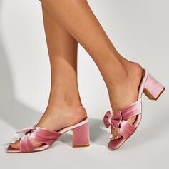 Frauen PU Stämmiger Absatz Sandalen Absatzschuhe Peep Toe Pantoffel Quadratischer Zeh Heels mit Bowknot Einfarbig Schuhe