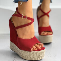 Frauen Veloursleder Keil Absatz Sandalen Absatzschuhe Plateauschuh Keile Peep Toe mit Schnalle Hohl-out Einfarbig Kreuz und quer Schuhe