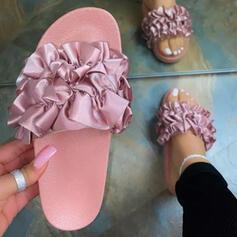 Frauen PU Flascher Absatz Sandalen Flache Schuhe Peep Toe Pantoffel mit Geraffte Schuhe