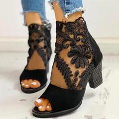 Frauen Veloursleder Mesh Stämmiger Absatz Absatzschuhe Stiefelette mit Reißverschluss Schuhe
