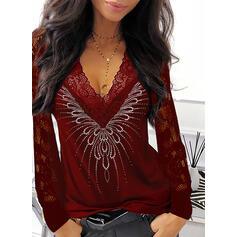 Solid Lace Sequins V-Neck Long Sleeves Elegant Blouses