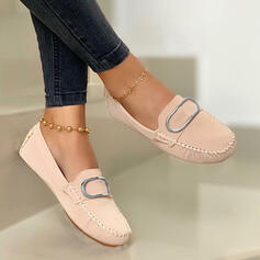 Women's PU Flat Heel Flats Round Toe Loafers Slip On With Buckle Solid Color shoes