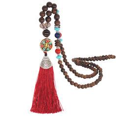 Modisch Exotisch Klassische Art Legierung Holzperlen Frauen Mode-Halskette