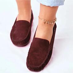 Frauen Veloursleder Flascher Absatz Flache Schuhe mit Einfarbig Schuhe