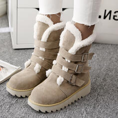 Women's Suede Wedge Heel Snow Boots Winter Boots With Buckle Solid Color shoes