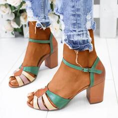 Frauen PU Stämmiger Absatz Sandalen Absatzschuhe Peep Toe mit Schnalle Schuhe