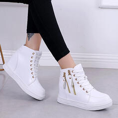 Women's PU Flat Heel Boots Ankle Boots Round Toe With Buckle Zipper Lace-up shoes