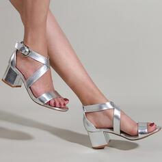 Frauen PU Stämmiger Absatz Sandalen Absatzschuhe Peep Toe Heels mit Schnalle Hohl-out Einfarbig Schuhe