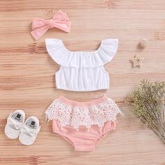 3 Stücke Baby Mädchen Rüschen Einfarbig Spitze Baumwolle Stellen Sie Größe