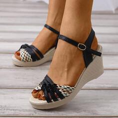 Frauen PU Keil Absatz Sandalen Plateauschuh Keile mit Schnalle Hohl-out Schuhe