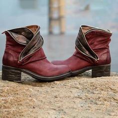 Frauen PU Stämmiger Absatz Stiefelette mit Zweiteiliger Stoff Schuhe