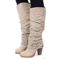 Frauen Kunstleder Stämmiger Absatz Absatzschuhe Stiefel mit Rüschen Schuhe