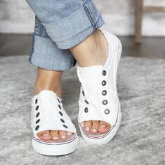 Frauen Leinwand Flascher Absatz Flache Schuhe Low Top Espadrille mit Niete Hohl-out Schuhe