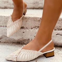 Frauen Kunstleder Stämmiger Absatz Sandalen Absatzschuhe Slingpumps Spitze mit Rüschen Geraffte Gummiband Einfarbig Schuhe