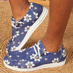 Women's Canvas Flat Heel Flats Low Top Round Toe Loafers With Lace-up Flower Print shoes