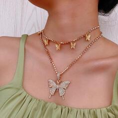 Modisch Jahrgang Einfache Geschichtet Legierung mit Vergoldet Schmetterling Frauen Damen Halsketten 2 STÜCK