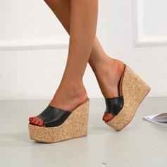 Women's Microfiber Wedge Heel Sandals Wedges Peep Toe Slippers Heels With Solid Color shoes