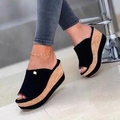 Frauen Baumwollstoff Keil Absatz Sandalen Keile Peep Toe Pantoffel Heels mit Einfarbig Schuhe