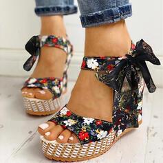 Frauen Stoff Keil Absatz Sandalen Keile Peep Toe mit Bowknot Zuschnüren Schuhe