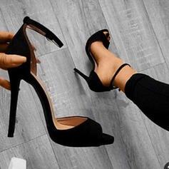 Frauen Veloursleder Stöckel Absatz Absatzschuhe Peep Toe mit Schnalle Schuhe