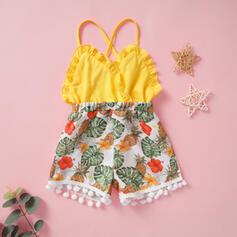 Baby Mädchen Quasten-Deko Rüschen Blumen Druck Baumwolle Overall
