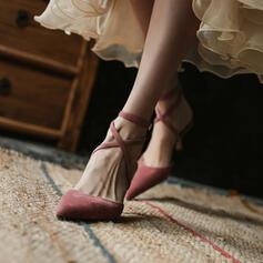 Frauen Veloursleder Stöckel Absatz Sandalen Absatzschuhe Geschlossene Zehe Spitze mit Zuschnüren Hohl-out Schuhe