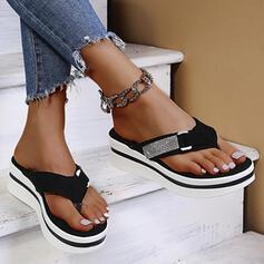 Women's Suede Flat Heel Sandals Flip-Flops Slippers With Rhinestone shoes