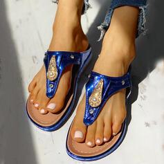 Frauen Mikrofaser Flascher Absatz Sandalen Flip Flops Pantoffel mit Strass Schuhe